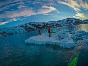 kayaking at svartisen glacier in the arctic