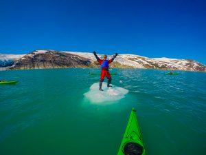 kayaking at svartisen glacier around floating icebergs