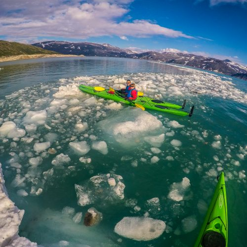 kayaking around floating ice at svartisen glacier