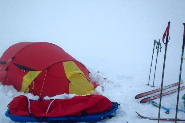 telter på svartisen